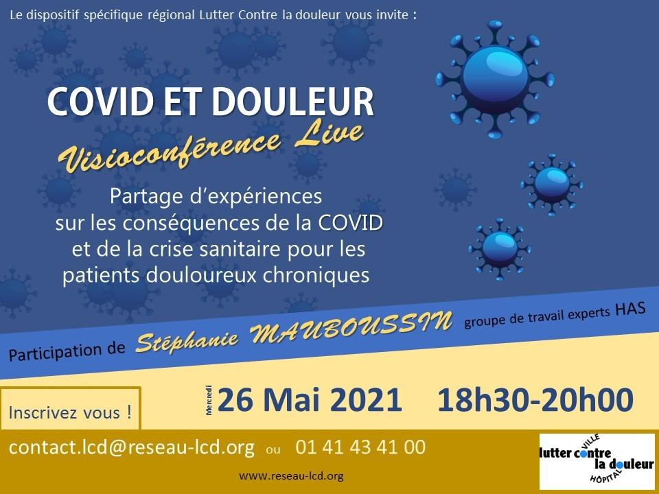 COVID et Douleur Visioconférence Live le 26 mai 2021 18h30-20h00
